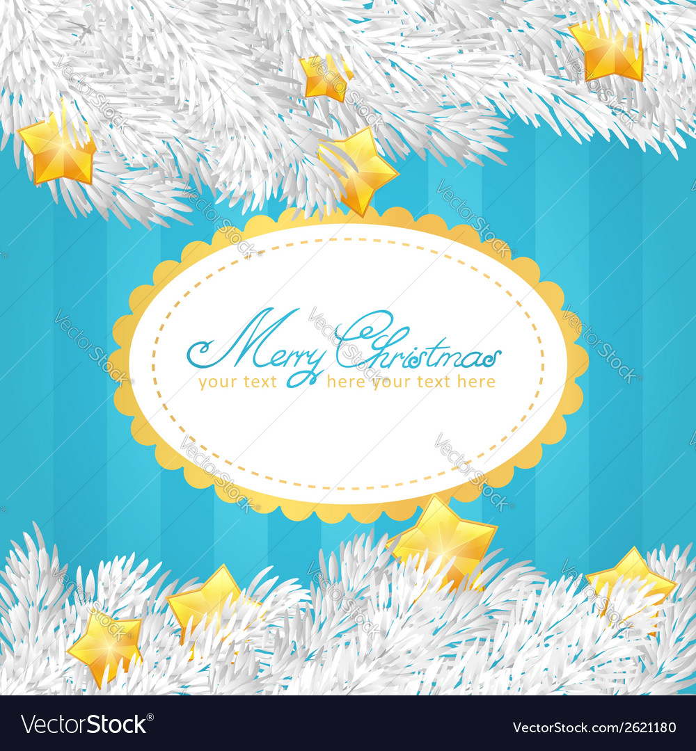 Christmas tree stars invitation golden card vector | Price: 1 Credit (USD $1)