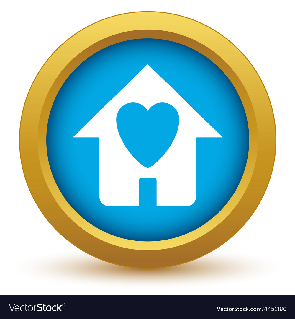 Gold love house icon vector | Price: 1 Credit (USD $1)
