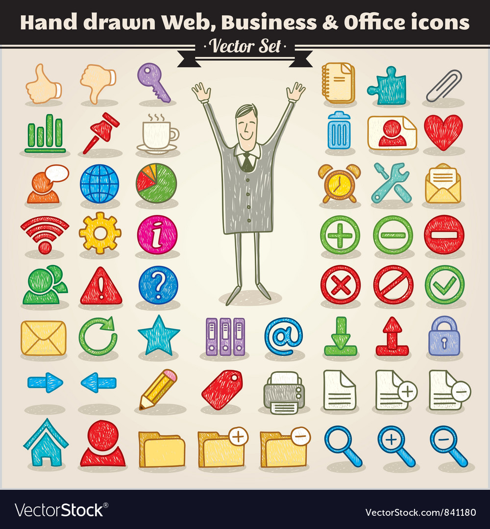 Hand drawn web business and office icons vector
