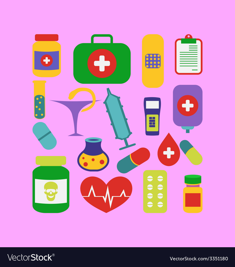 Set trendy flat medical icons - vector | Price: 1 Credit (USD $1)