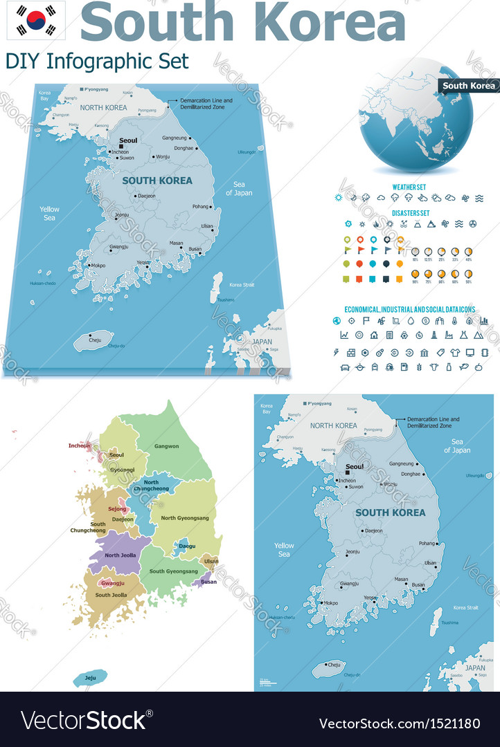 South korea maps with markers vector | Price: 3 Credit (USD $3)