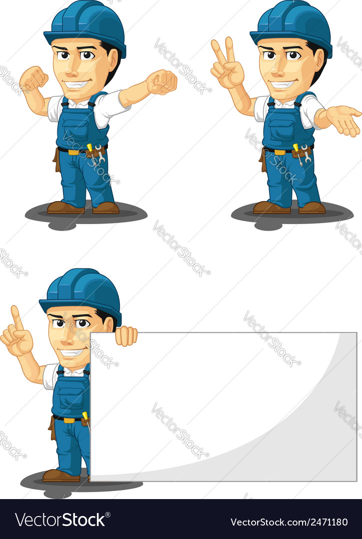 Technician or repairman mascot 7 vector | Price: 1 Credit (USD $1)