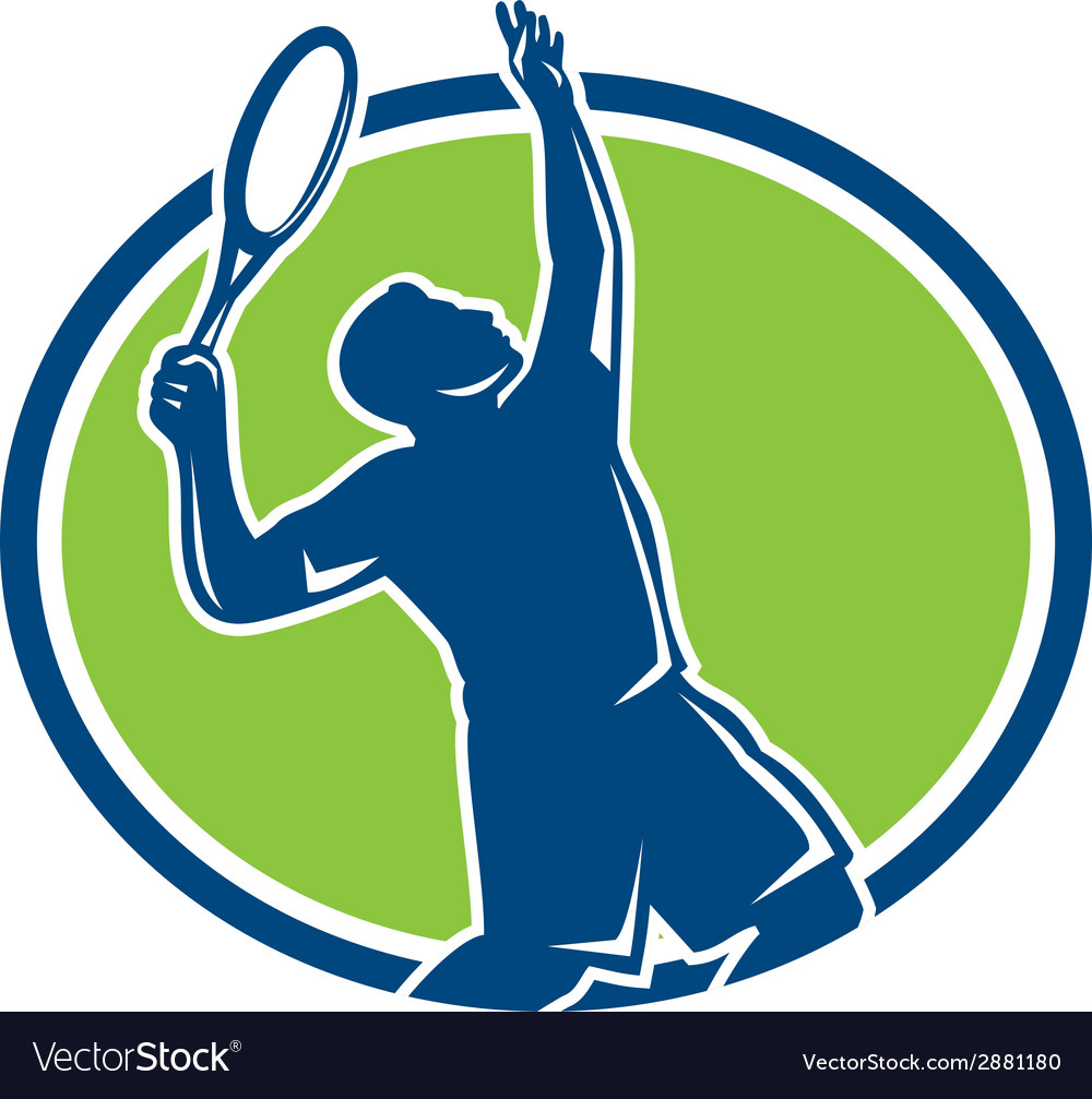 Tennis player racquet serving oval retro vector | Price: 1 Credit (USD $1)