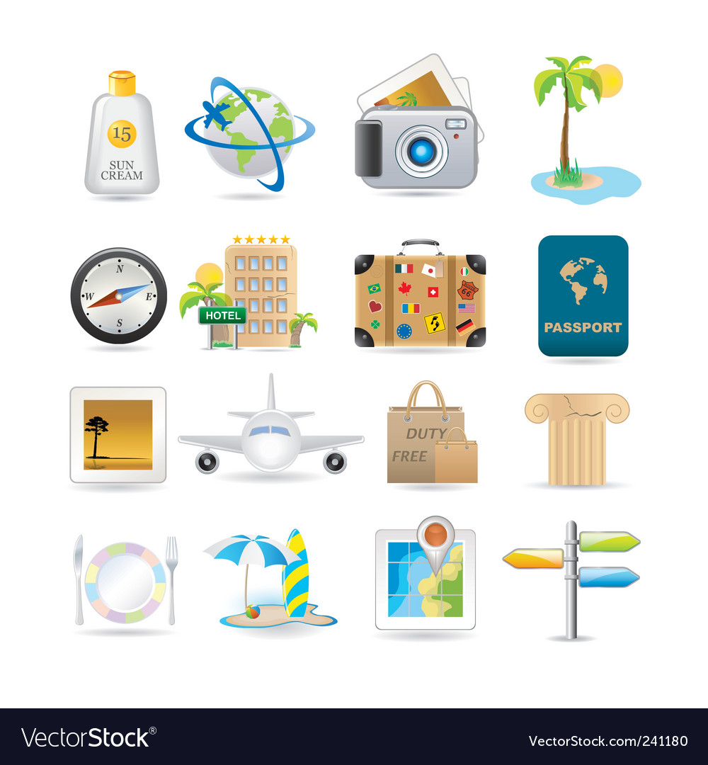 Travel icon set vector | Price: 3 Credit (USD $3)