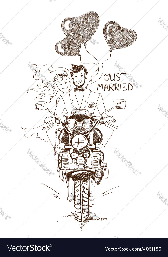 Wedding couple riding on a motorbike vector | Price: 1 Credit (USD $1)