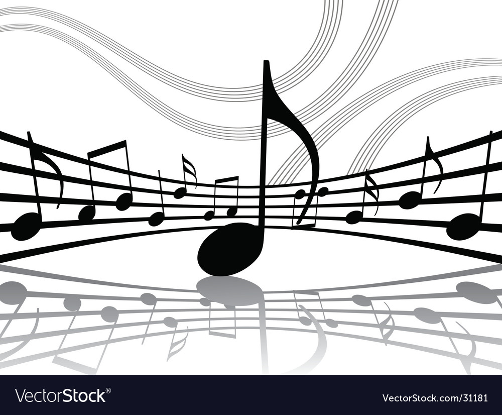 Abstract musical lines with notes vector | Price: 1 Credit (USD $1)