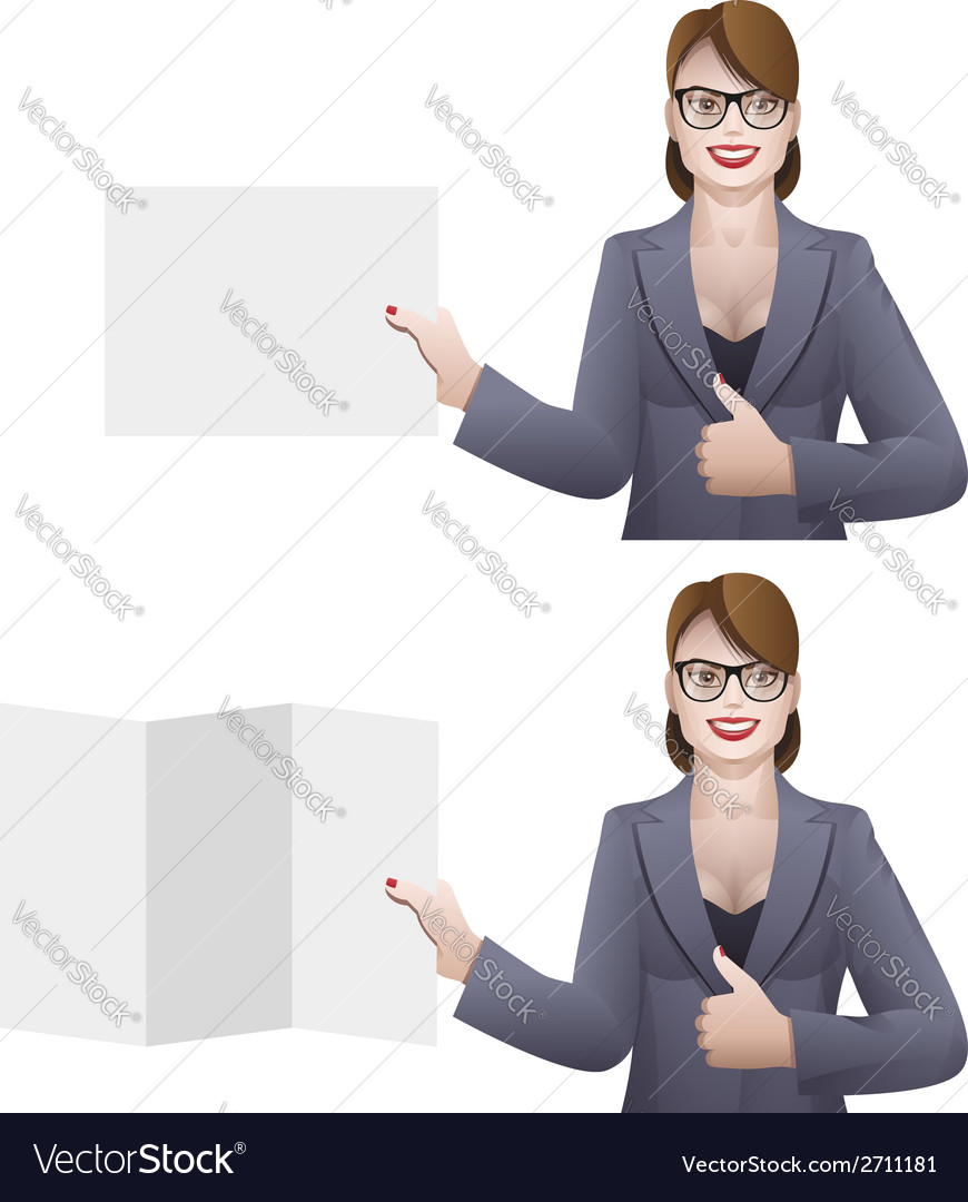 Business woman holding a banner vector | Price: 1 Credit (USD $1)