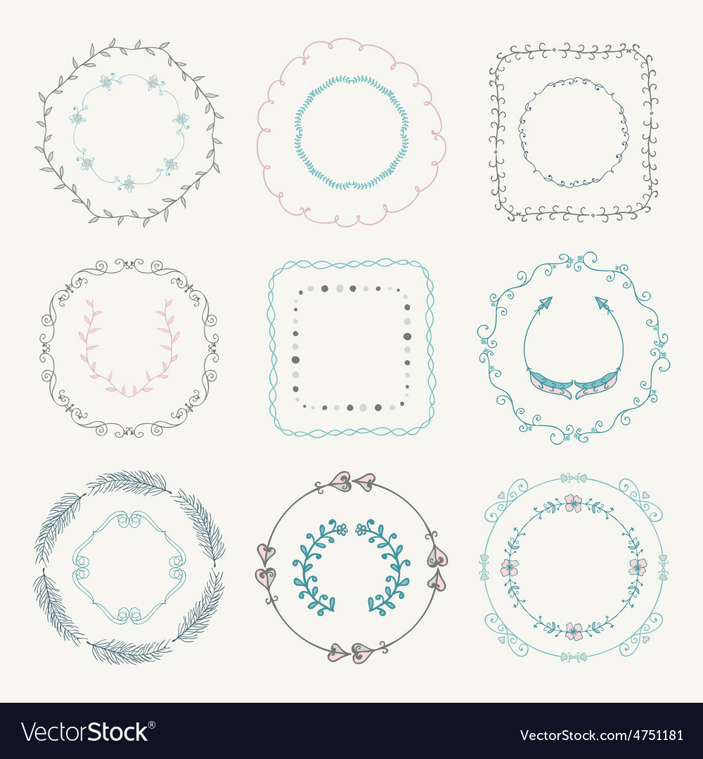 Colorful hand sketched frames borders design vector | Price: 1 Credit (USD $1)