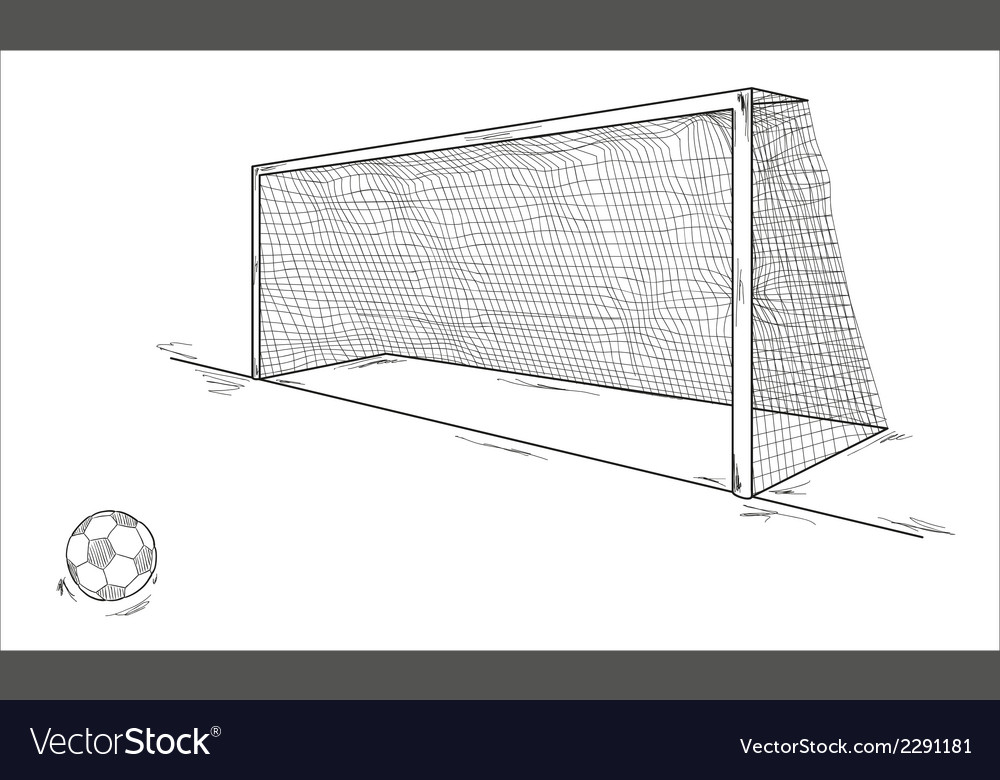 Football ball and goal vector | Price: 1 Credit (USD $1)