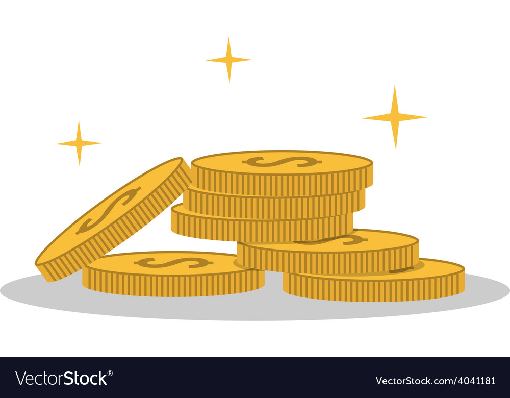 Isolated cartoon shine gold coin vector | Price: 1 Credit (USD $1)