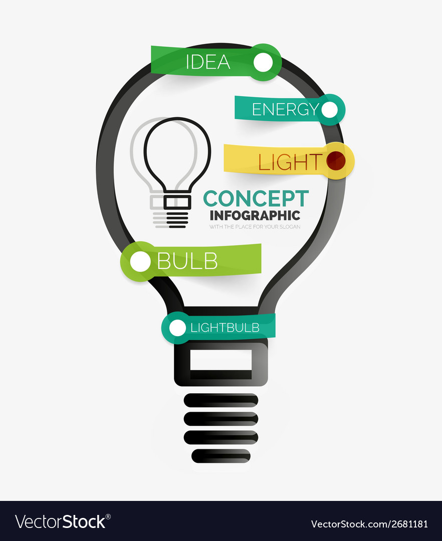 Light bulb infographic concept line style vector | Price: 1 Credit (USD $1)
