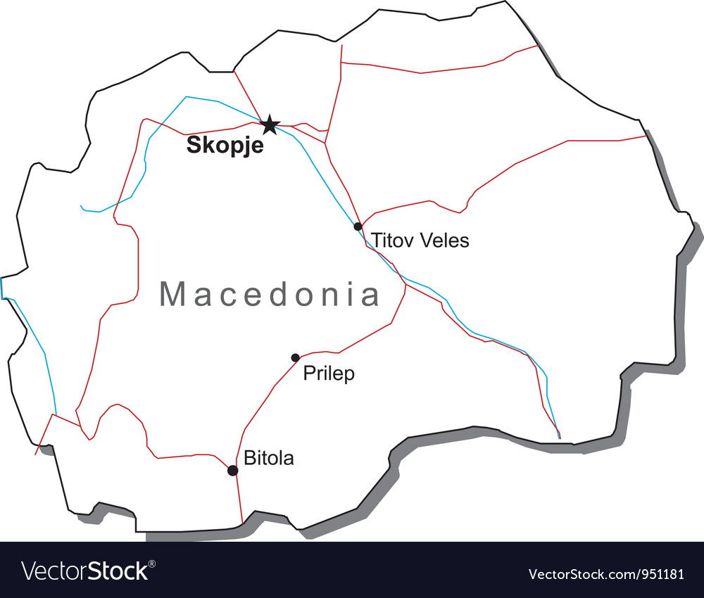 Macedonia black white map vector | Price: 1 Credit (USD $1)
