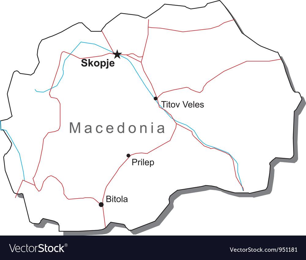 Macedonia black white map vector | Price: 1 Credit (USD $1)
