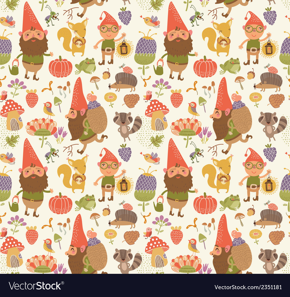 Seamless pattern with cute gnomes vector | Price: 1 Credit (USD $1)