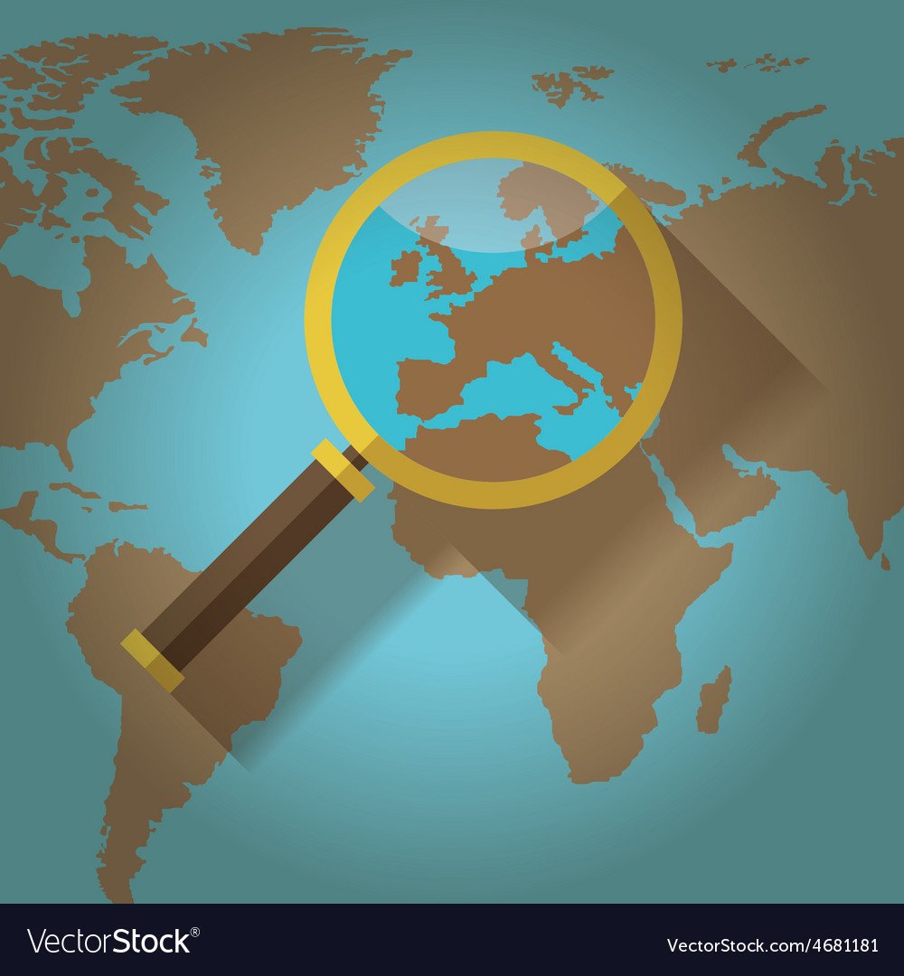 World map countries with europe magnifying glass vector | Price: 1 Credit (USD $1)