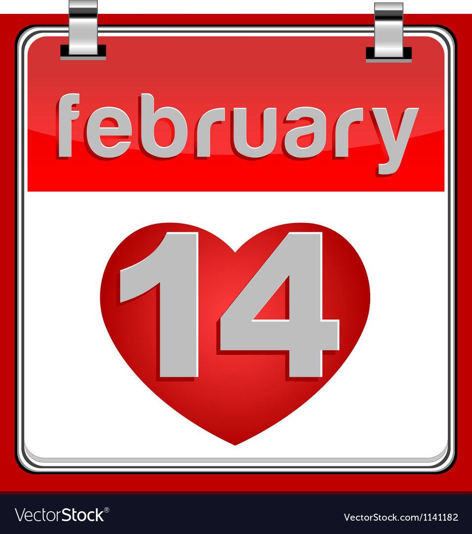14 february calendar metallic vector | Price: 1 Credit (USD $1)