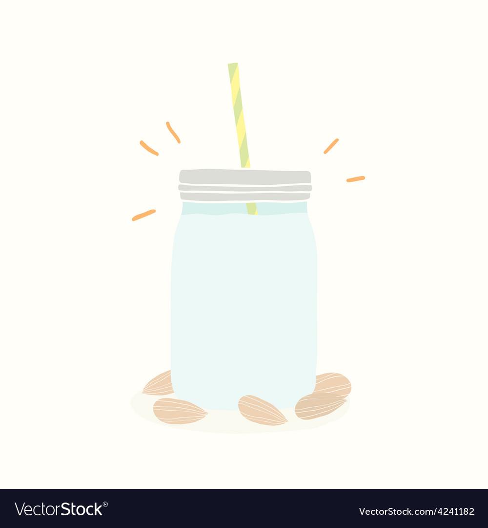 Almond milk in jar vector | Price: 1 Credit (USD $1)