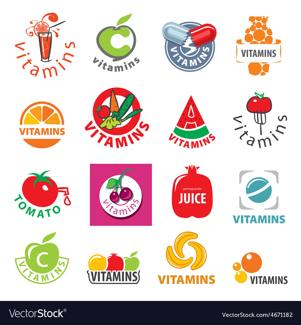 Biggest collection of logos vitamins vector | Price: 3 Credit (USD $3)