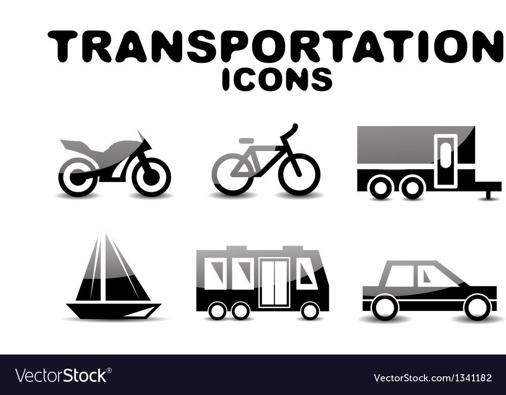 Black glossy transportation icon set vector | Price: 1 Credit (USD $1)
