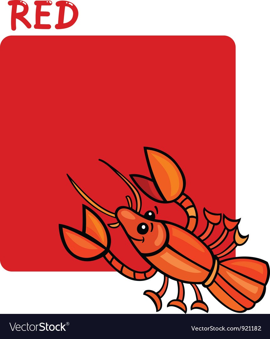 Color red and crayfish cartoon vector | Price: 1 Credit (USD $1)