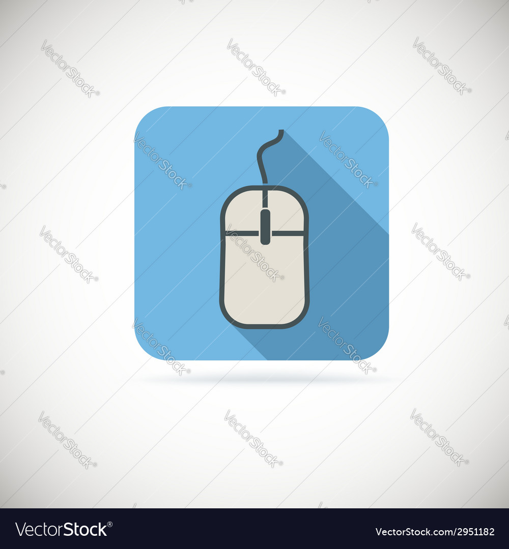 Computer mouse flat icon with long shadow vector | Price: 1 Credit (USD $1)