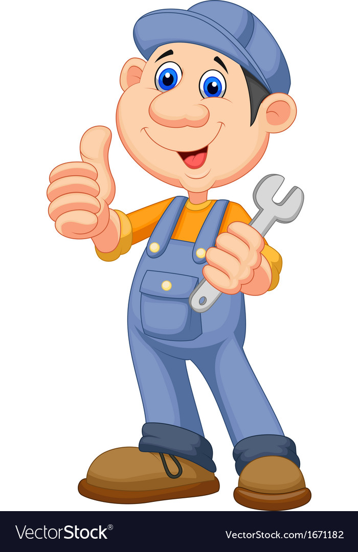 Cute mechanic cartoon holding wrench and giving th vector | Price: 1 Credit (USD $1)