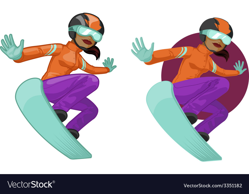 Cute young african american woman on snowboard vector | Price: 1 Credit (USD $1)
