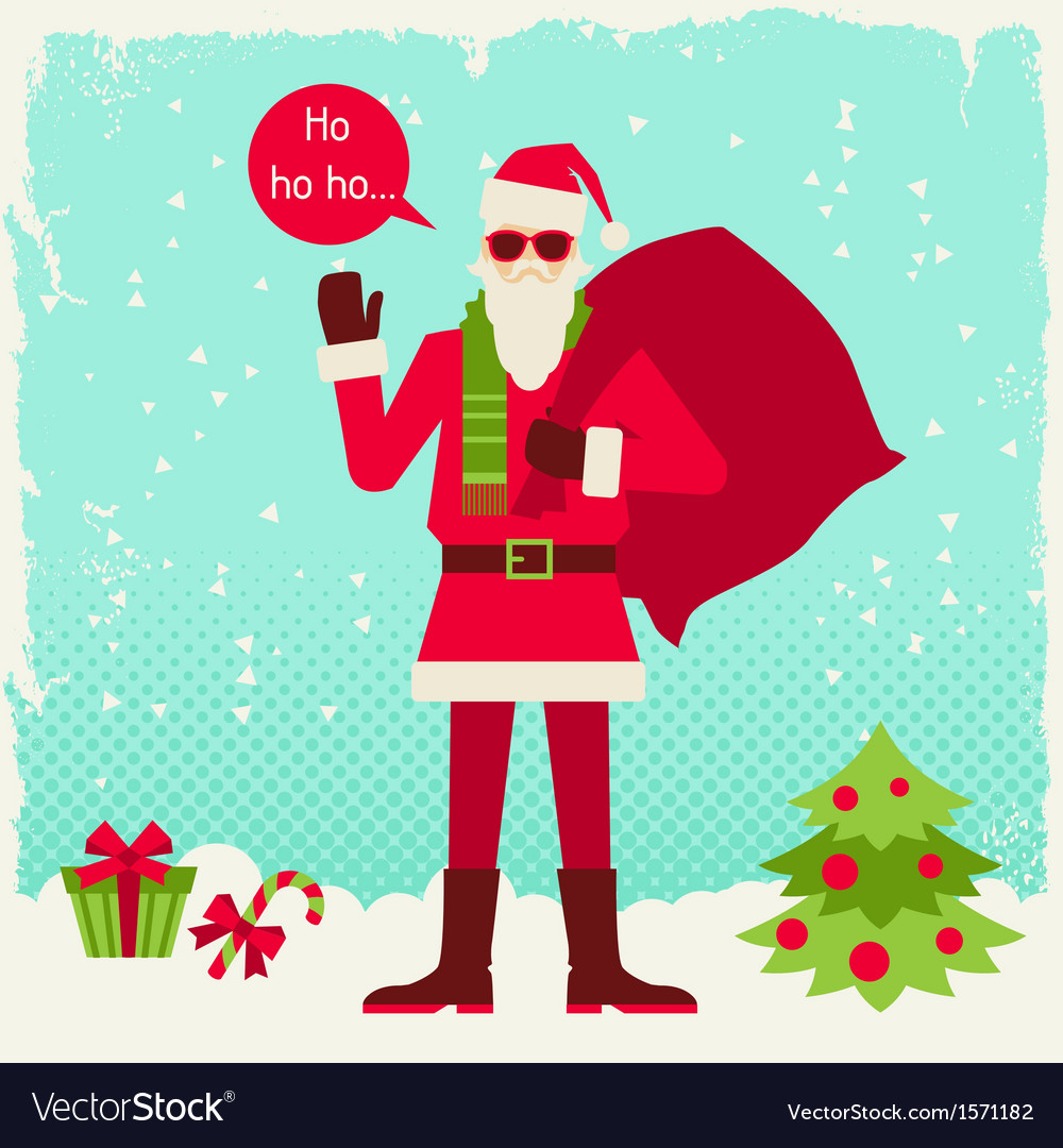 Merry christmas background with santa in hipster vector | Price: 1 Credit (USD $1)