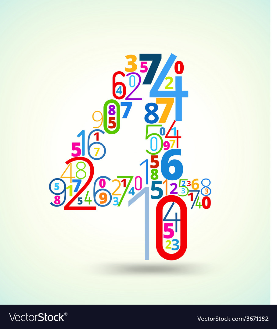 Number 4 colored font from numbers vector | Price: 1 Credit (USD $1)
