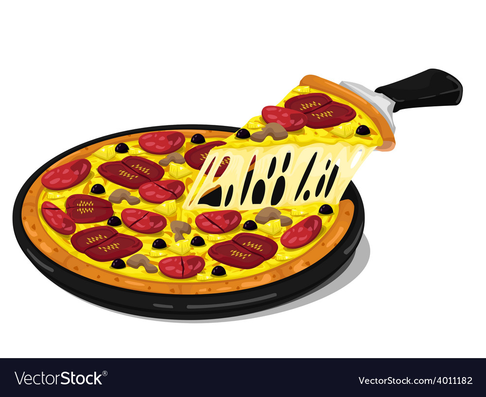 Pizza slices pepperoni and mushroom vector | Price: 1 Credit (USD $1)