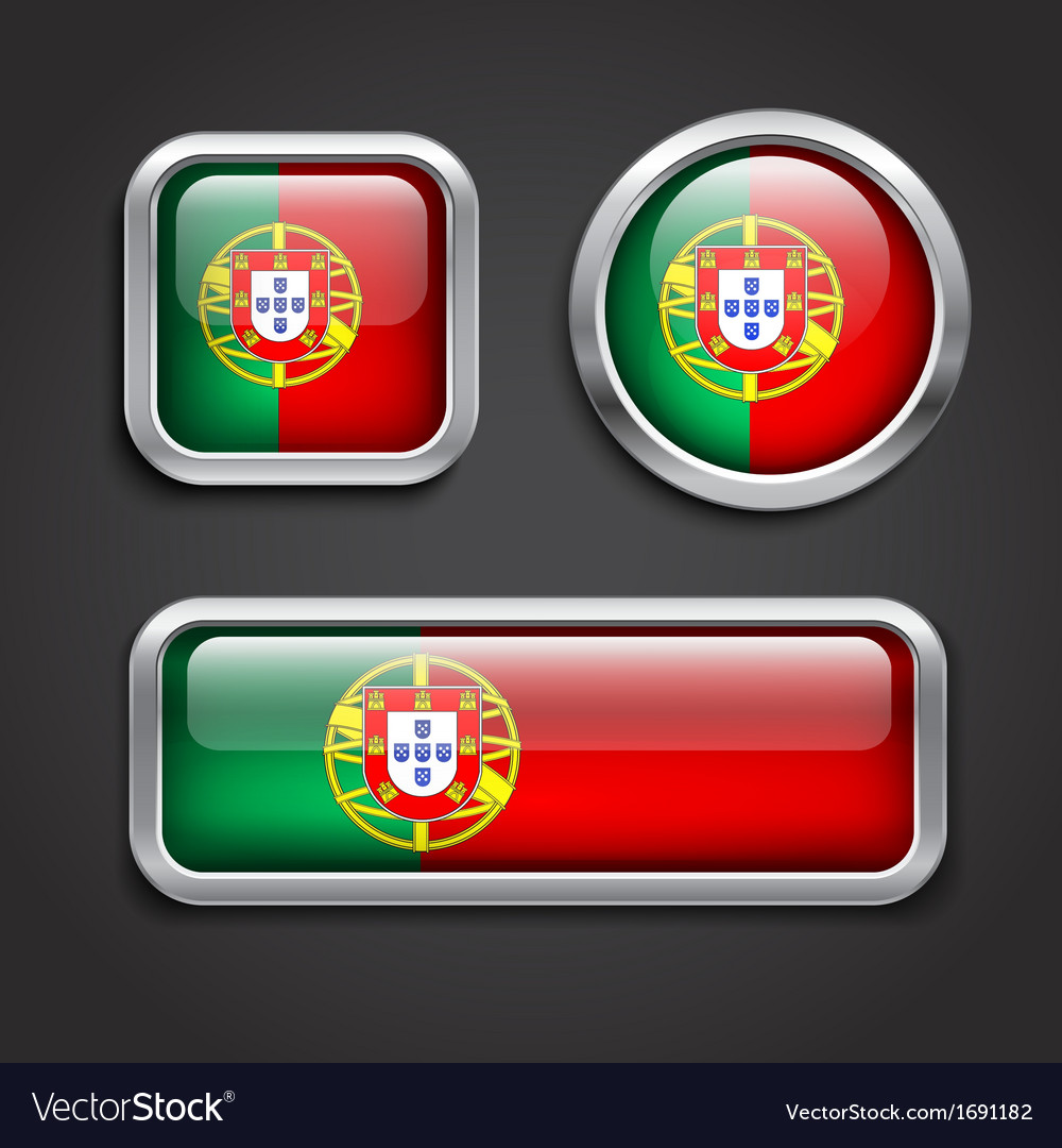 Portugal flag glass buttons vector | Price: 1 Credit (USD $1)