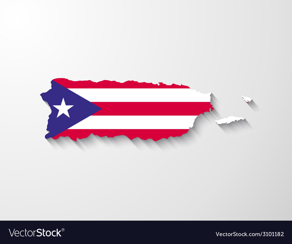 Puerto rico map with shadow effect presentation vector | Price: 1 Credit (USD $1)