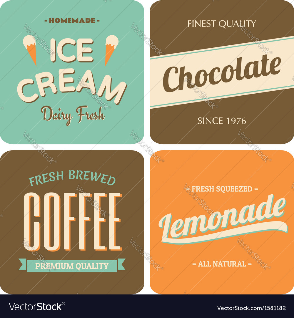 Retro style packaging design for foods and drinks vector | Price: 1 Credit (USD $1)