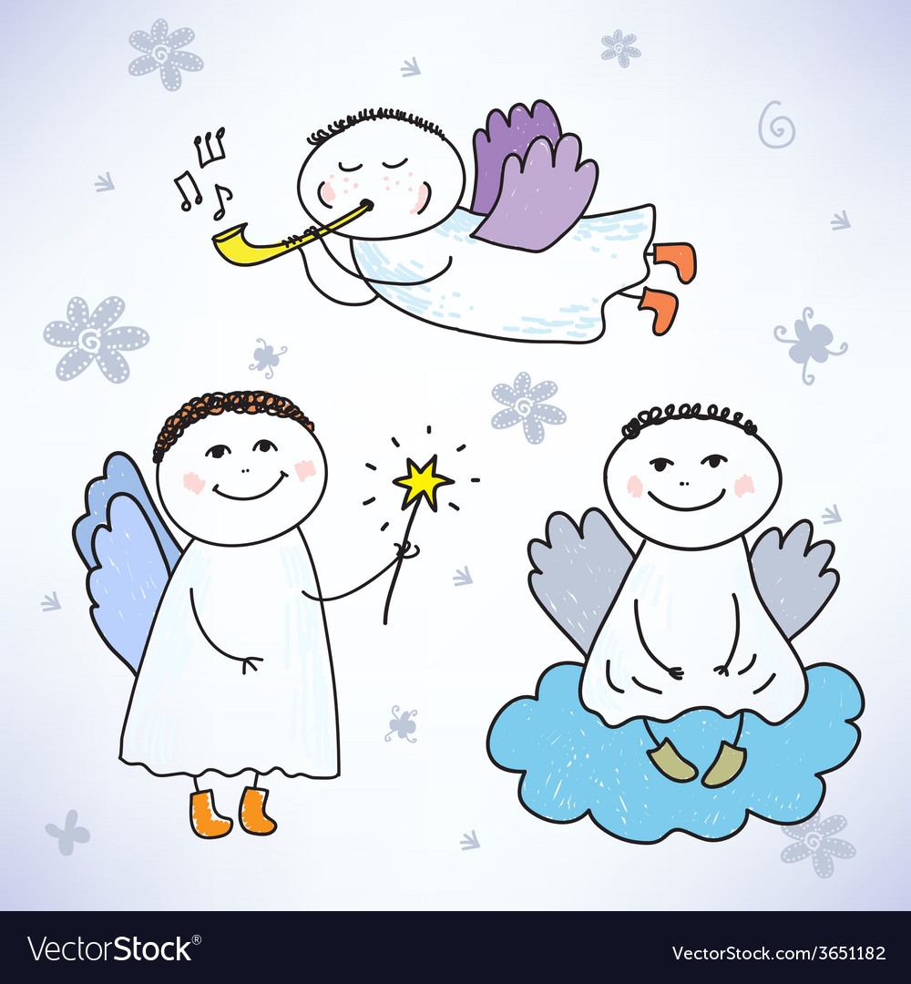 Set of hand drawn colorful cute angels vector   Price: 1 Credit (USD $1)