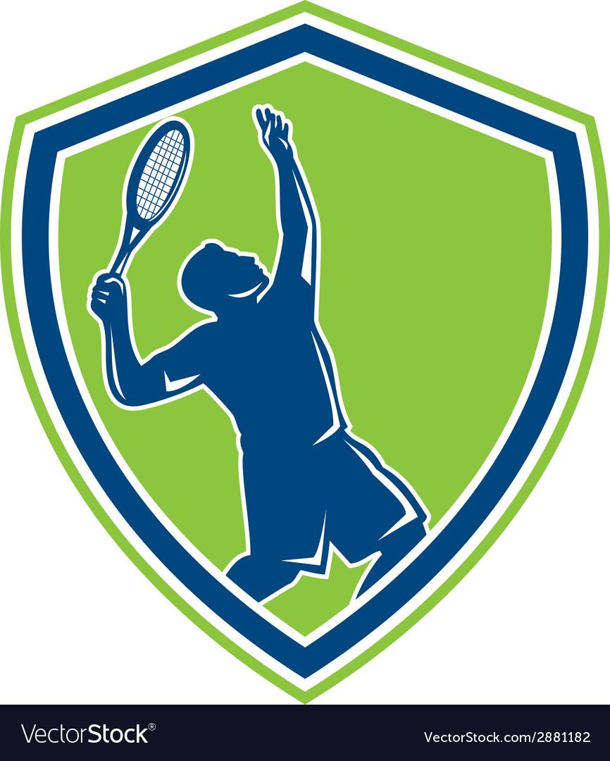 Tennis player silhouette serving shield retro vector | Price: 1 Credit (USD $1)