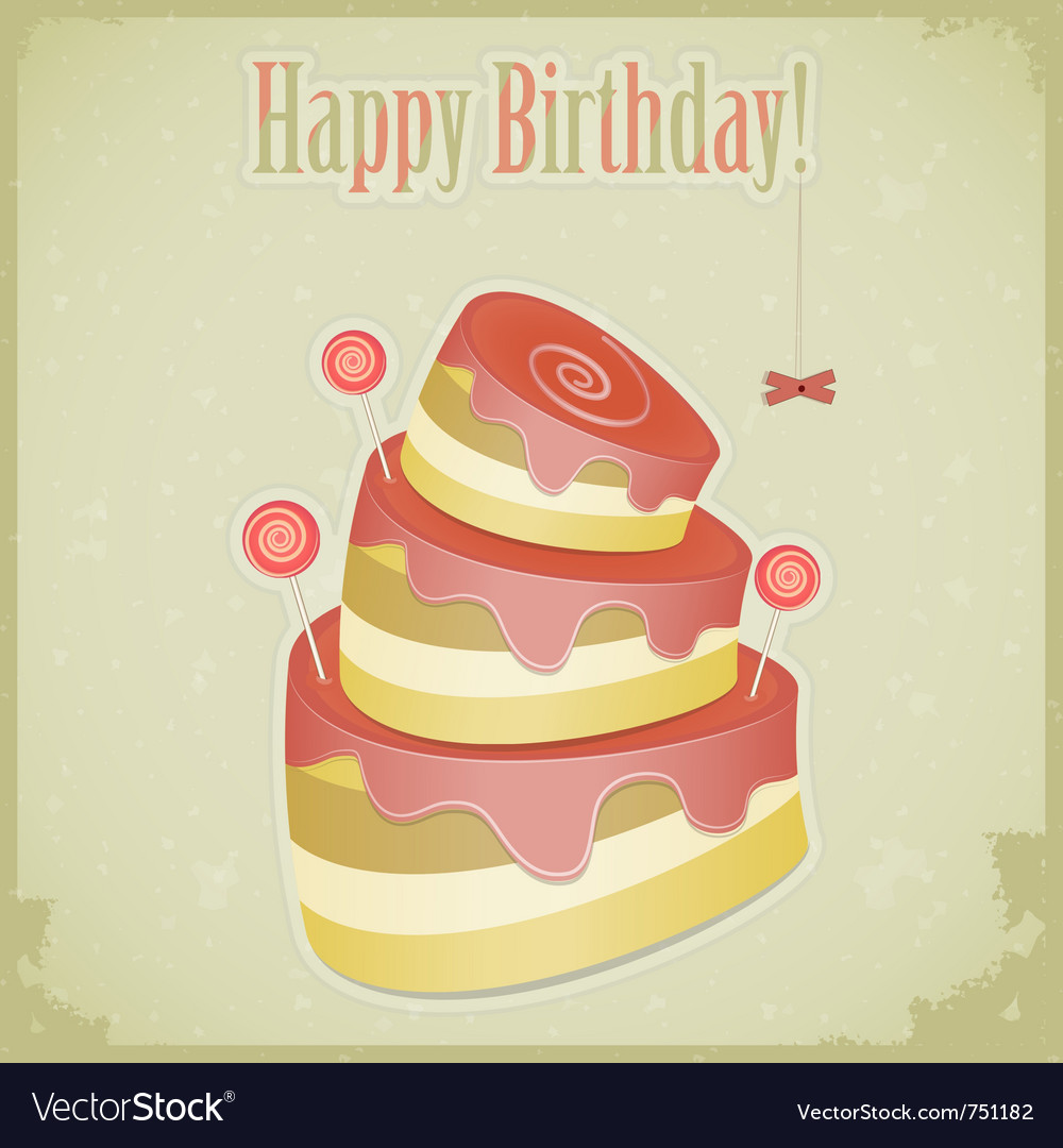 Vintage birthday card vector | Price: 3 Credit (USD $3)