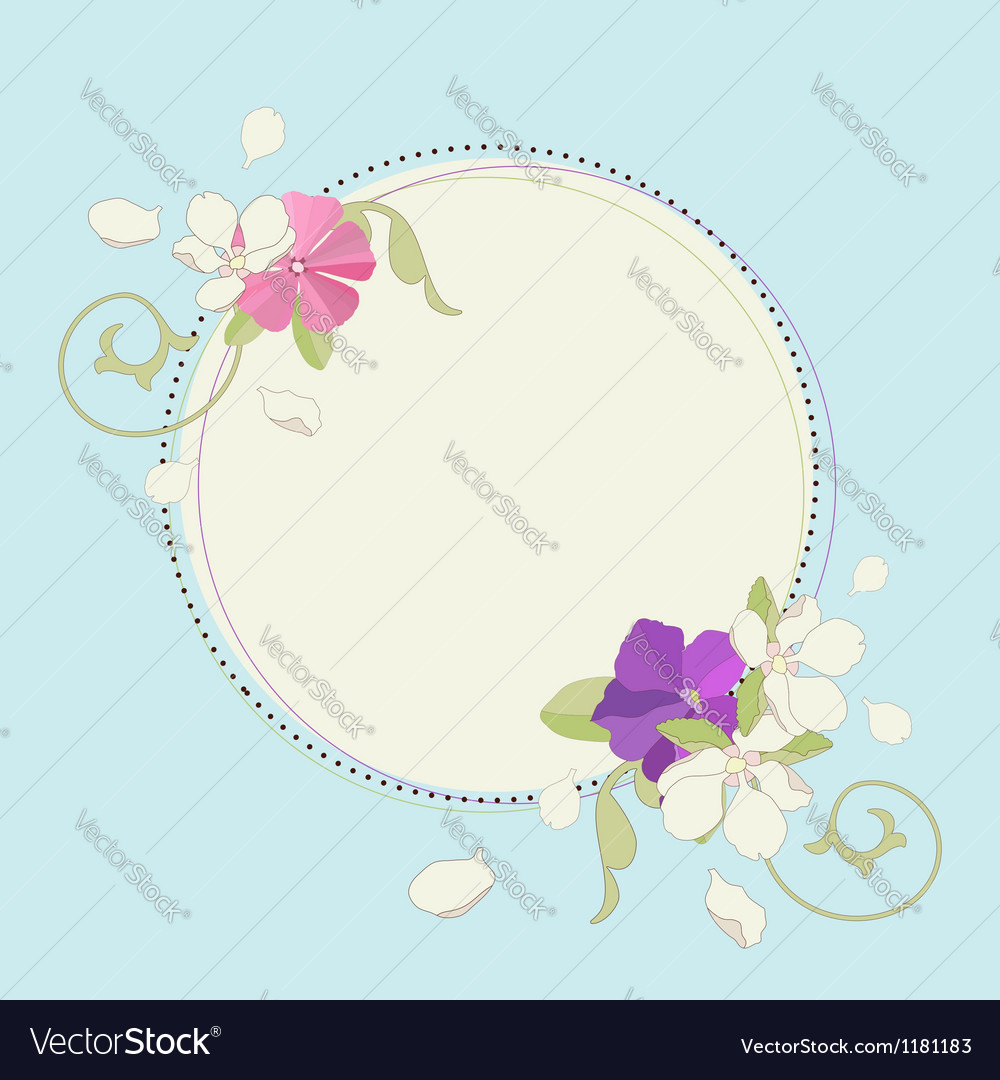 Apple iris and pink flower beautiful fame vector | Price: 1 Credit (USD $1)
