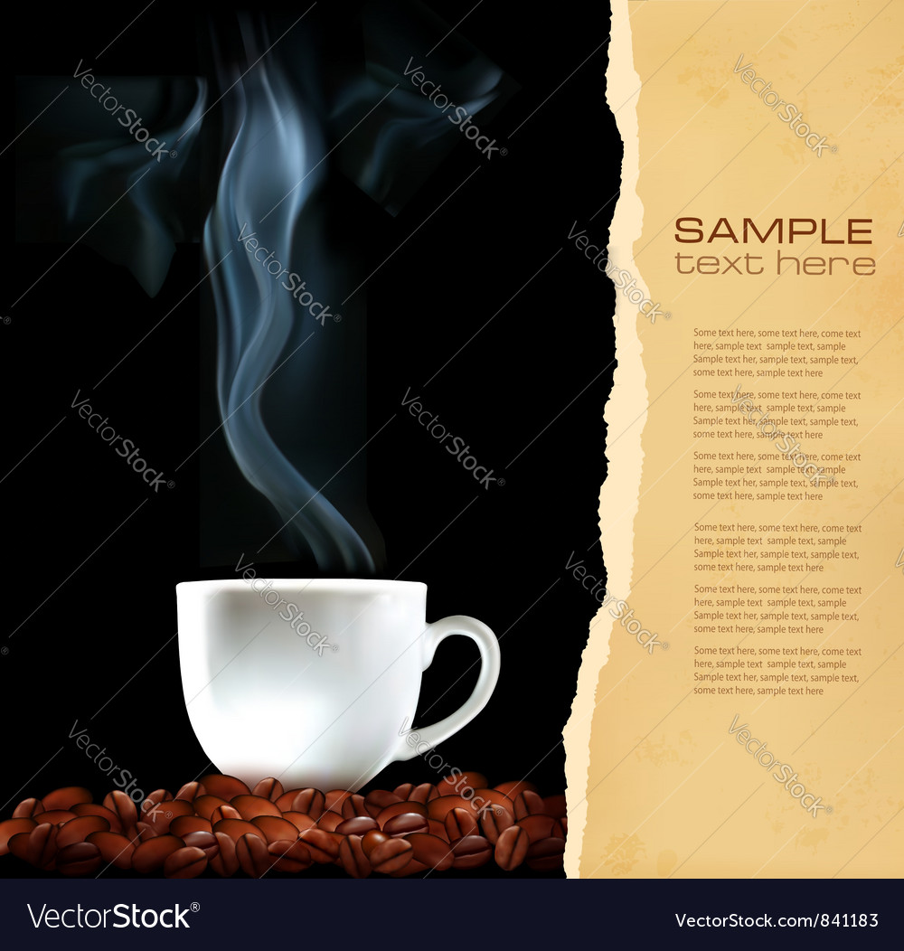 Background with cup of coffee and old ripped paper vector | Price: 1 Credit (USD $1)