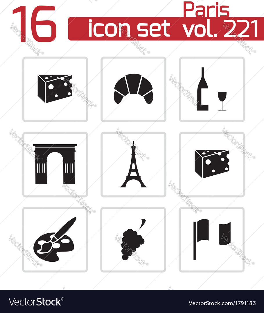 Black paris icons set vector | Price: 1 Credit (USD $1)