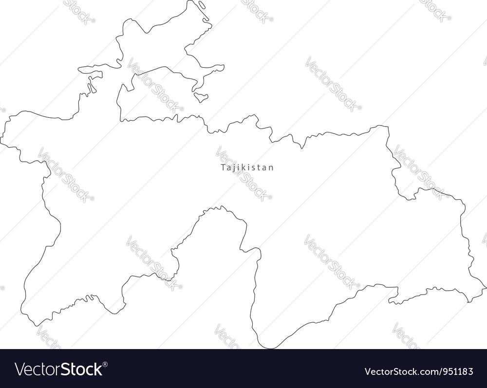 Black white tajikistan outline map vector | Price: 1 Credit (USD $1)