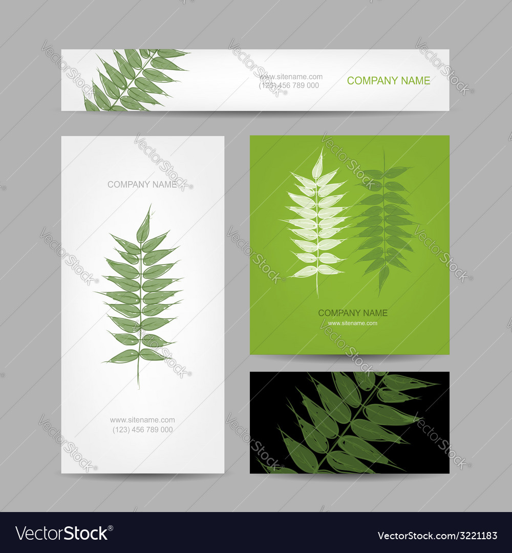 Business cards collection green leaf design vector
