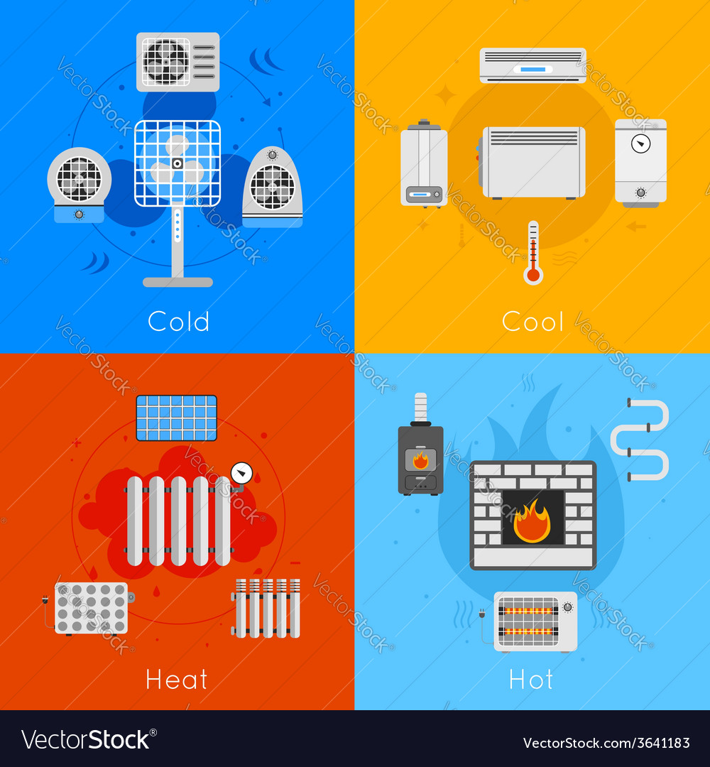 Heating and cooling flat vector | Price: 1 Credit (USD $1)