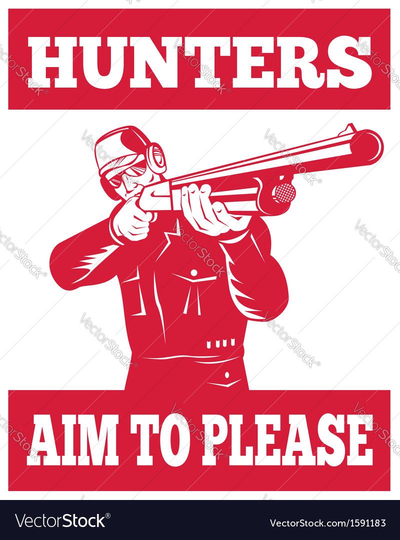 Hunter aiming a shotgun rifle front view vector   Price: 1 Credit (USD $1)