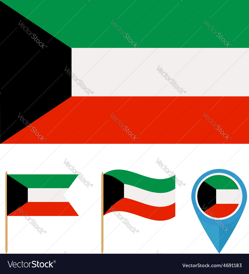 Kuwaitcountry flag vector | Price: 1 Credit (USD $1)