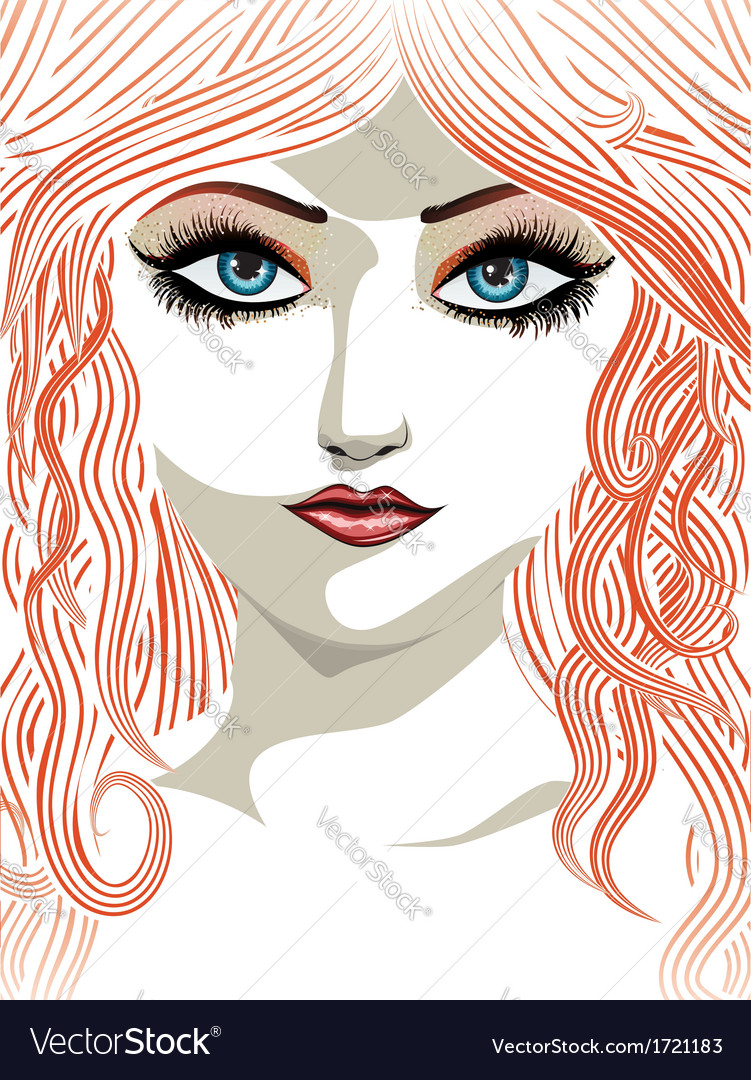 Red haired girl with blue eyes vector | Price: 1 Credit (USD $1)