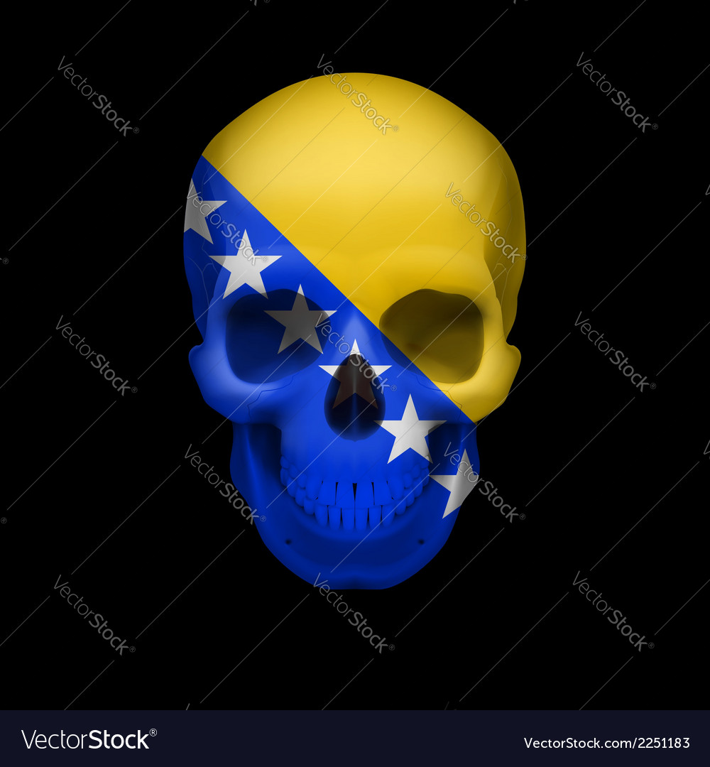 Skull with bosnia and herzegovina flag vector | Price: 1 Credit (USD $1)