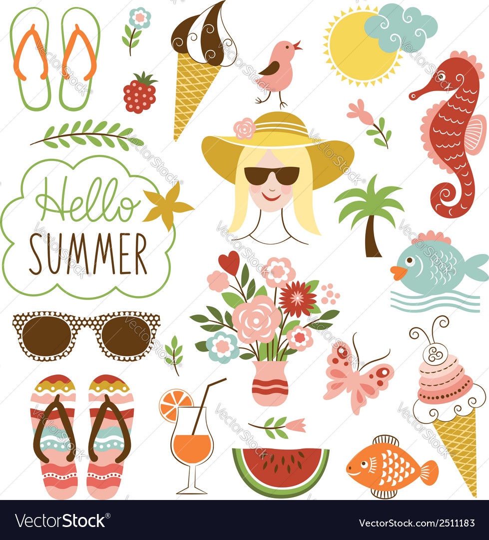 Summer icon set vector | Price: 3 Credit (USD $3)