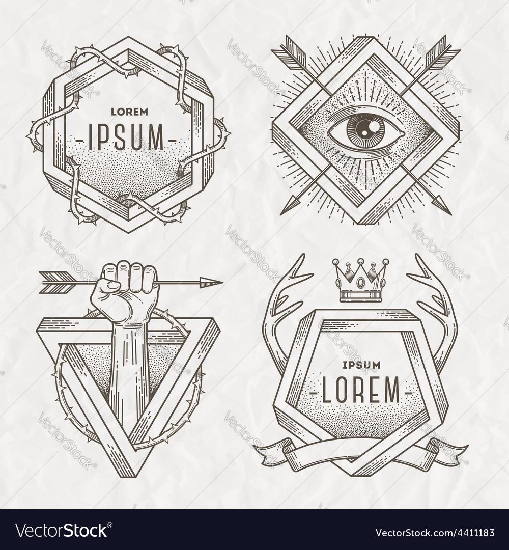 Tattoo style line art emblem vector | Price: 1 Credit (USD $1)