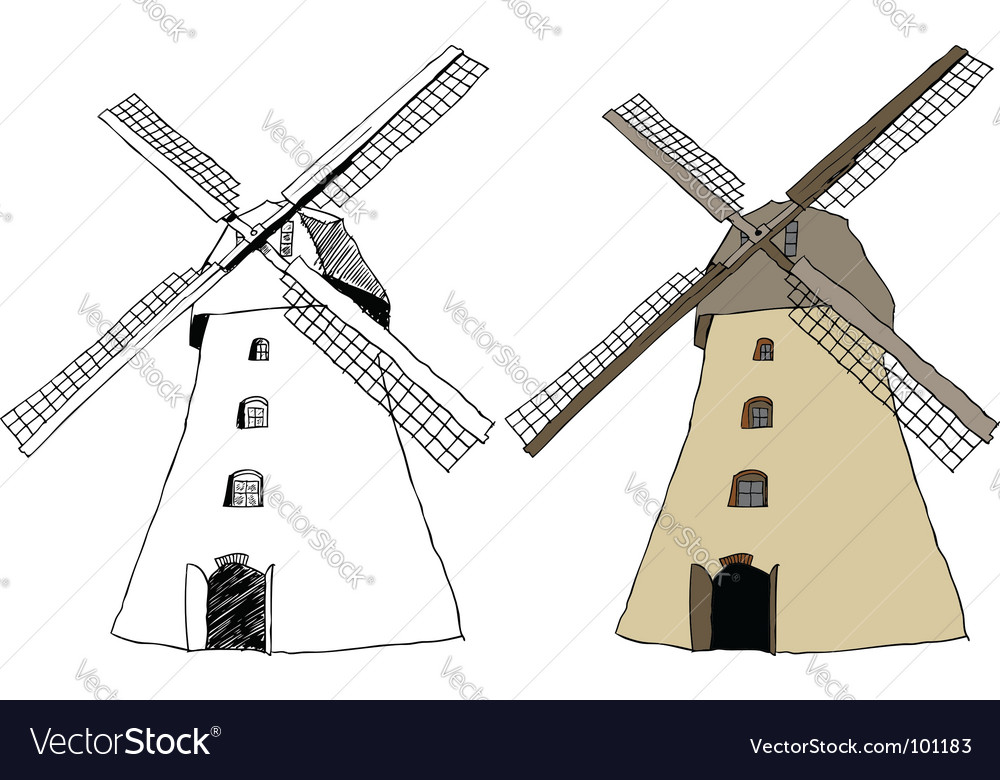 Traditional dutch windmill vector | Price: 1 Credit (USD $1)