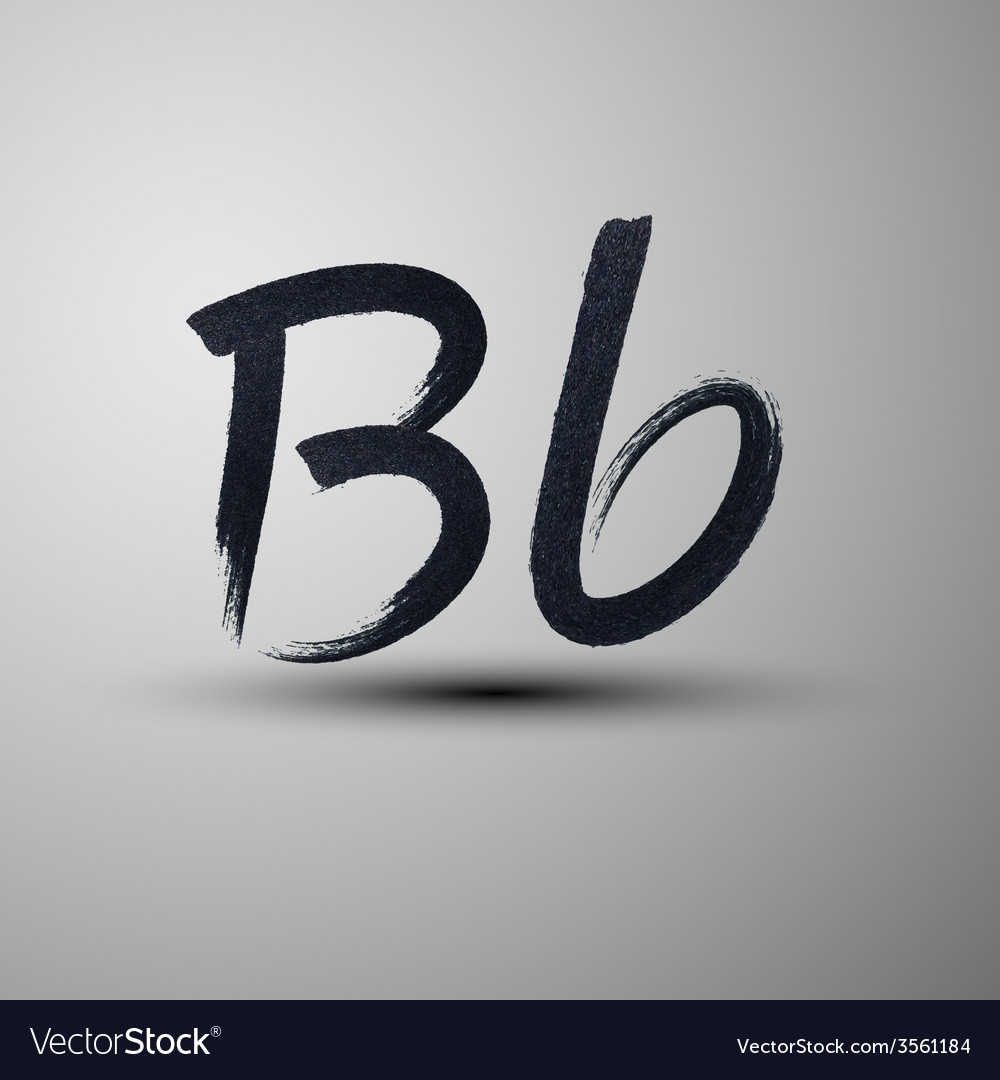 Calligraphic hand-drawn marker or ink letter b vector | Price: 1 Credit (USD $1)